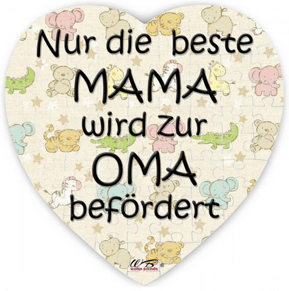 Puzzle-Botschaft Herz, Nur die beste Mama wird zur Oma befördert - bunt, 75 Teile 19x19cm inkl. Geschenk-Beutel, WB wohn trends®
