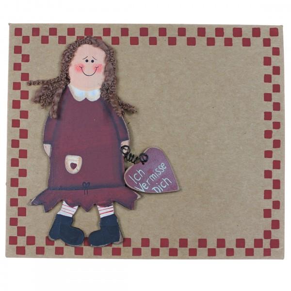 Grußkarte mit Holzfigur, Ich Vermisse Dich, Mädchen, mit Umschlag, Pappe 16,5 x 14 cm