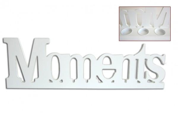 XL Schriftzug Moments für Teelichter Holz im Shabby Stil Buchstaben Kerzenhalter