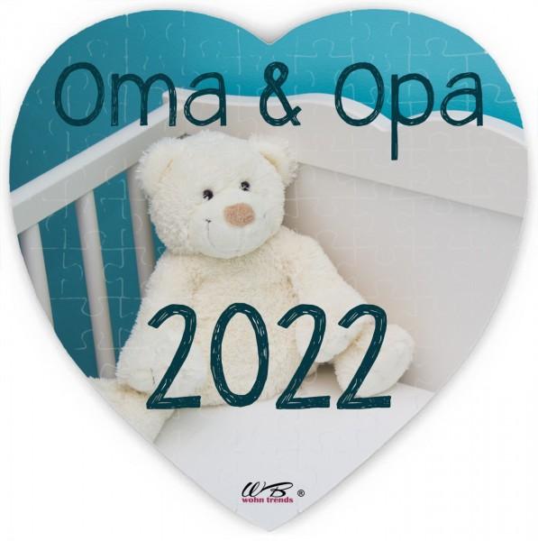Puzzle-Botschaft Herz, Oma & Opa 2022 - Teddy-Bär, 75 Teile 19x19cm inkl. Geschenk-Beutel