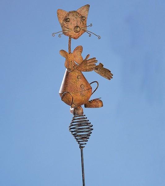 Gartenstecker aus Metall KATZE - 136cm - Antik/Rost Look