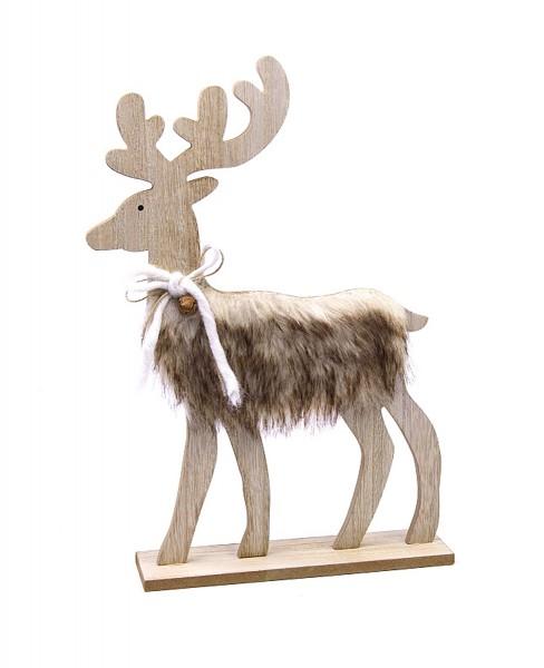 XXL Deko-Figur aus Holz Hirsch Elch Rentier mit Plüsch-Fell zum Stellen, 29x27x6cm Weihnachts-Deko Weihnachten