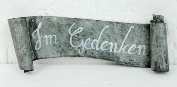 Banner Schild aus Metall mit Text - IM GEDENKEN - Grabschmuck Grab Trauer