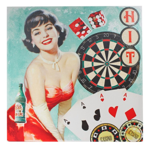 Keilrahmen Bild, Casino Pin Up Girl, Karten, Dart, 50 x 50 cm