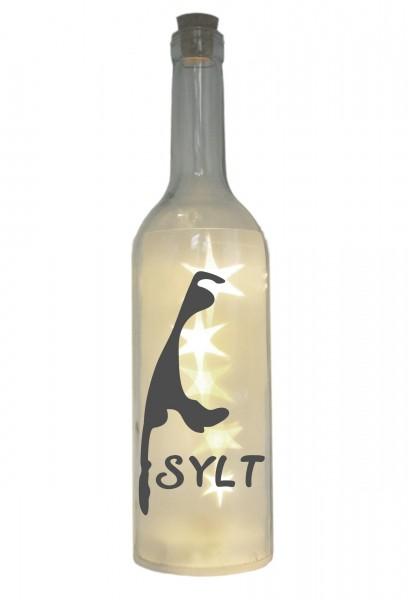 LED-Flasche mit Motiv, Insel Sylt Silhouette, grau, 29cm, Flaschen-Licht Lampe mit Text Spruch