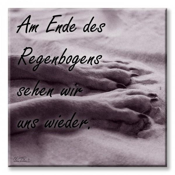 Deko-Fliese, Am Ende des Regenbogens Hund Pfote, Foto-Fliese Wand-Bild Deko-Schild 15x15cm