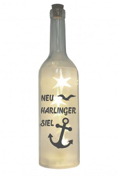 LED-Flasche mit Motiv ~ Neuharlingersiel mit Anker Möwe ~ grau ~ 29cm ~ Flaschen-Licht Lampe mit Text Spruch