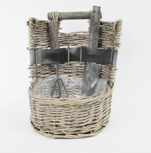 Gartenwerkzeug-Set, Kelle und Grubber im Pflanz-Korb, Garten Werkzeug