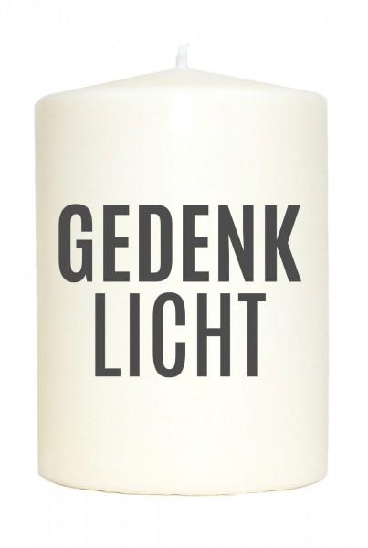 Kleine Spruchkerze weiß, Gedenk-Licht, Aufdruck grau, 10x7cm, Trauer-Kerze Gedenk-Kerze mit Spruch Motiv-Kerze