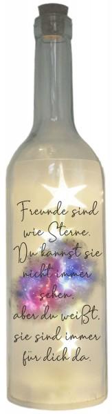 LED-Flasche Folien-Motiv, Freunde sind wie Sterne, 29cm, Flaschen-Licht Lampe mit Text Spruch