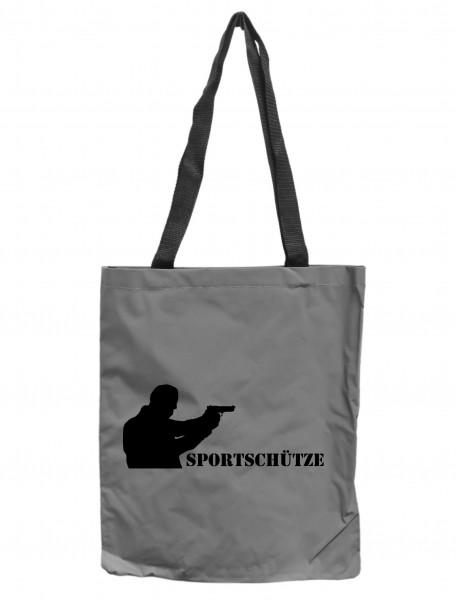 Reflektor-Tasche Sportschütze Kurzwaffe Pistole, grau-silber REFLEKTIERT! Einkaufs-Beutel mit Innentasche, Einkaufstasche Tragetasche Shopper Shopping-Bag