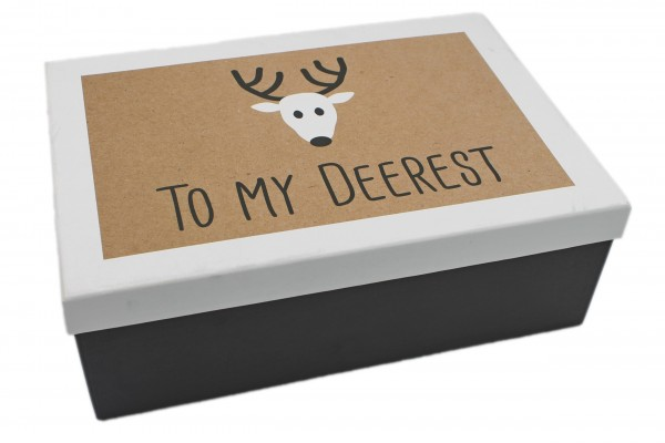 Geschenk-Box To my deerest schwarz weiss, 26x18x9,5cm, 257, Größe&Farbe wählbar, Weihnachten Kiste Karton aus Pappe