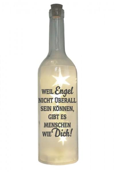 LED-Flasche mit Motiv, Weil Engel nicht überall sein können gibt es Menschen wie dich, grau, 29cm, Flaschen-Licht Lampe mit Text Spruch
