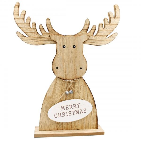 Riesiger Elch mit Wende-Schild MERRY CHRISTMAS und WELCOME ~ 48,5 cm hoch ~ aus Holz