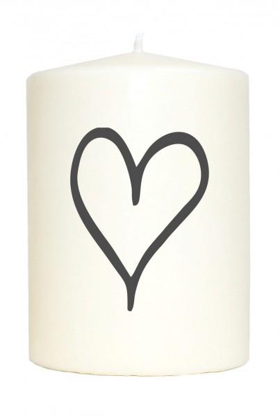 Kleine Spruchkerze weiß, 2 Herzen Herz Hochzeit, Aufdruck grau, 10x7cm, Kerze mit Spruch Motiv-Kerze