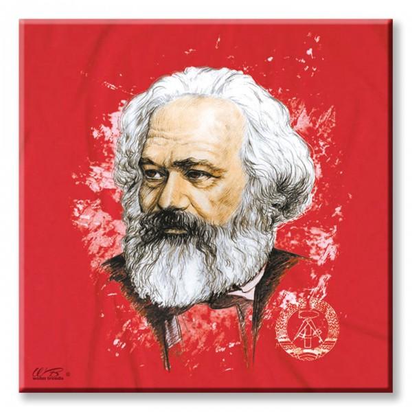 Deko-Fliese, Karl Marx Zeichnung Kopf Ostalgie DDR, Foto-Fliese Wand-Bild Deko-Schild 15x15cm