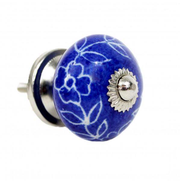 blau, weiß, Blüten, rund - Vintage Keramik Möbelknauf zum schrauben - Motiv 9