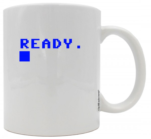 Tasse mit beidseitigem Motiv, Ready Cursor / Basic Start-Bildschirm, Farbe: weiß, Kaffee-Becher mit Motiv