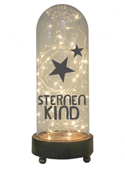 LED-Glaskuppel XXL mit Motiv, Sternenkind, grau, 29cm, Glas-Licht Lampe mit Text Spruch