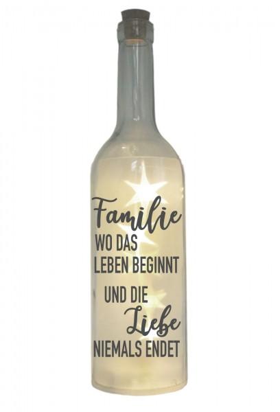 LED-Flasche mit Motiv, Familie wo das Leben beginnt - Liebe niemals endet, grau, 29cm, Flaschen-Licht Lampe mit Text Spruch