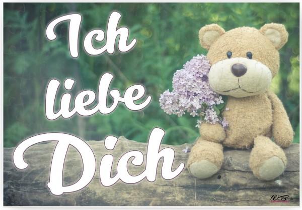 Puzzle-Botschaft eckig ~ Ich liebe Dich - Teddy Bär ~ 120 Teile 27x18cm inkl. Geschenk-Beutel ~ WB wohn trends®