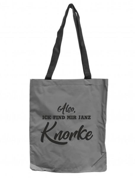 Reflektor-Tasche Berlin Also ick find mir janz Knorke, grau-silber REFLEKTIERT! Einkaufs-Beutel mit Innentasche, Einkaufstasche Tragetasche Shopper Shopping-Bag