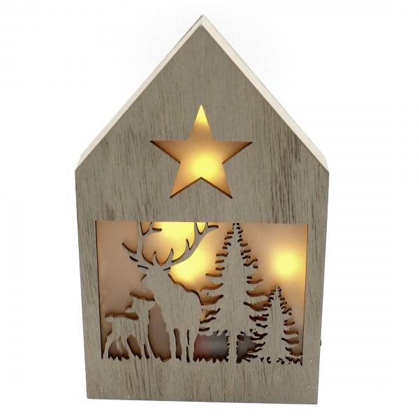 Dekohaus mit LED ~ Zwei Elche, dunkel ~ leuchtende Weihnachts-Deko aus Holz ~ 21 x 13 x 3 cm