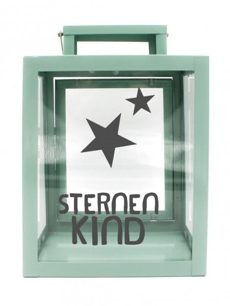 Metall-Laterne Sternenkind mint-grün 25x18x13cm für LED-Kerzen