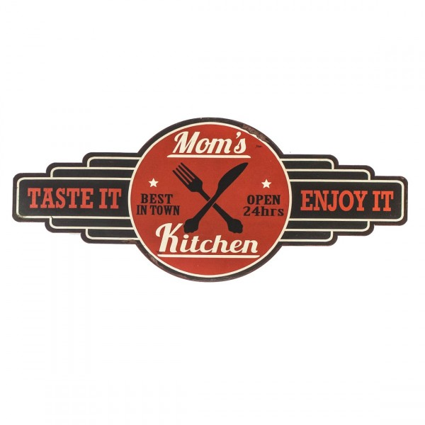 Blechschild ~ Mom's Kitchen OPEN 24hrs ~ rot ~ 61 x 26,5 cm ~ Vintage Schild aus Metall