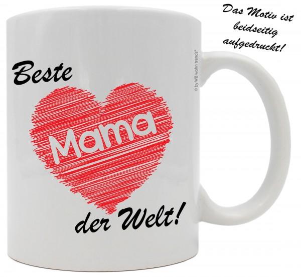 Tasse mit beidseitigem Motiv ~ Beste Mama der Welt ~ Farbe: weiß ~ Kaffee-Becher mit Motiv