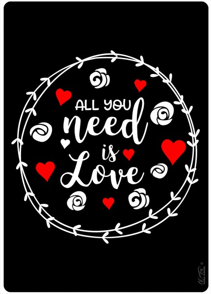 Holz-Postkarte, All you need is Love schwarz weiß rot, Kreidetafel-Optik Liebe Holz-Schild Wand-Bild Deko-Schild 15x10cm