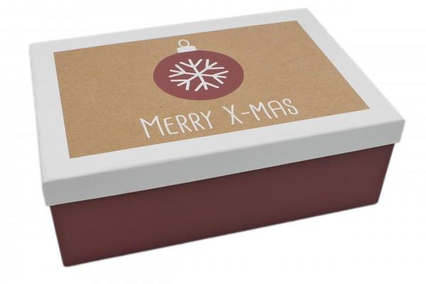 Geschenk-Box Merry X-Mas rot weiss, 28,5x20x10cm, 267, Größe&Farbe wählbar, Weihnachten Kiste Karton aus Pappe