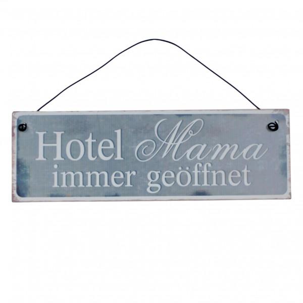 Kleines Schild aus Metall zum Hängen, Hotel Mama immer geöffnet, 20 x 6,5 cm