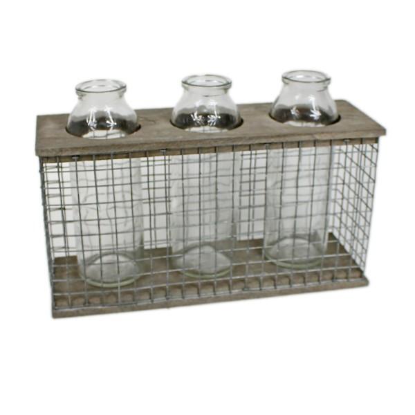 3 Gläser im Ständer als Vase, Metall / Holz, 26 x 9 x 18 cm, Landhaus Optik