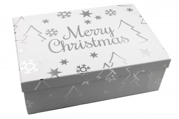 Geschenk-Box weiß SILBER, Merry Christmas mit Metallic-Effekt, 18x10,5x7cm, 279, Größe&Farbe wählbar, Weihnachten Kiste Karton aus Pappe