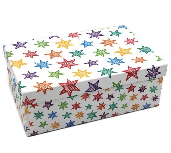 Geschenkbox Weihnachten.Geschenkbox Bunte Sterne Weiß Weihnachten 21 5x12 5x8cm 237985 5er Kiste Box Aus Pappe