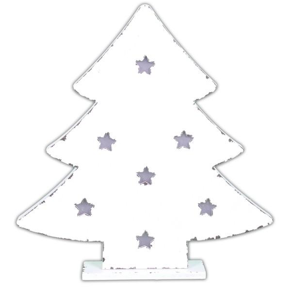 Leuchtender Weihnachtsbaum aus Holz ~ weiß ~ mit LED ~ SHABBY LOOK ~ zum Stellen ~ 35 x 33,5 cm