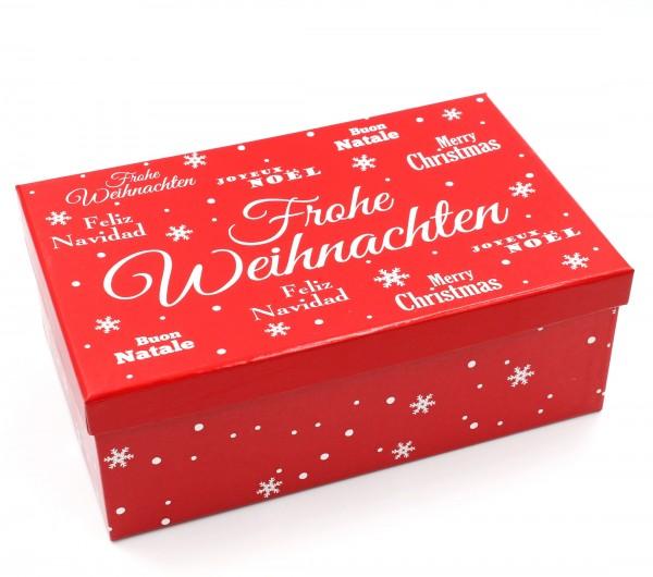 Geschenkbox, Frohe Weihnachten - rot, Größe&Farbe wählbar, 21,5x12,5x8cm, 427829, Kiste Box aus Pappe