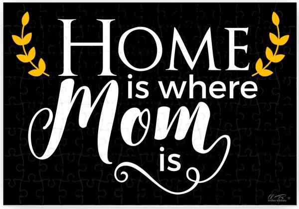 Puzzle-Botschaft eckig, Home is where Mom is, Kreidetafel-Optik, 120 Teile 27x18cm inkl. Geschenk-Beutel