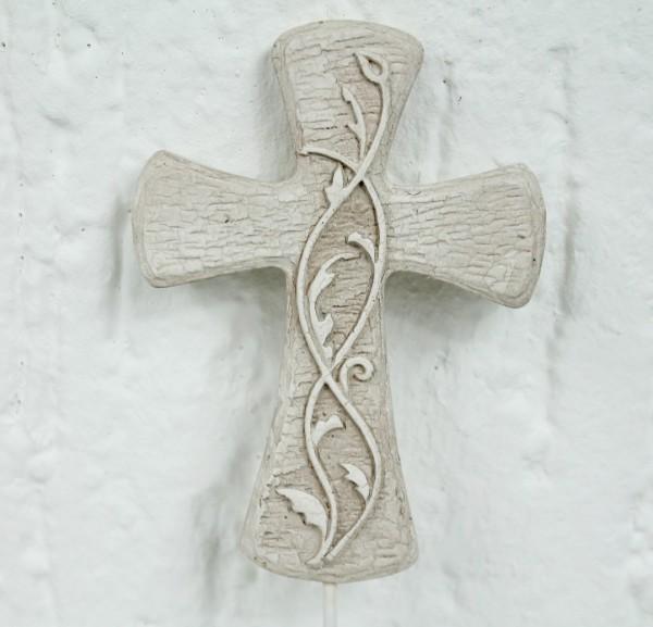 Blumenstecker Erdspieß in Sandstein Marmor Optik - Kreuz mit Efeu - Grabschmuck Grab Trauer