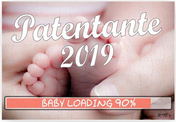 Puzzle-Botschaft eckig ~ Patentante 2019 / Baby-Füße ~ 120 Teile 27x18cm inkl. Geschenk-Beutel ~ WB wohn trends®