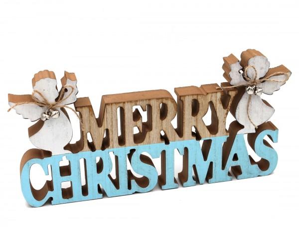 Holz-Aufsteller MERRY CHRISTMAS mit Engel, natur, weiß, hellblau, 34x17x3cm Weihnachten Deko