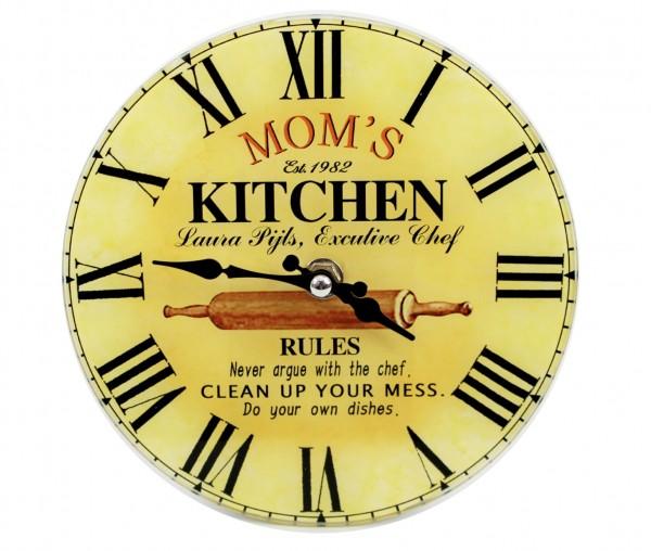 Wanduhr aus Glas - MOM's KITCHEN - d=17cm - Vintage Shabby Uhr