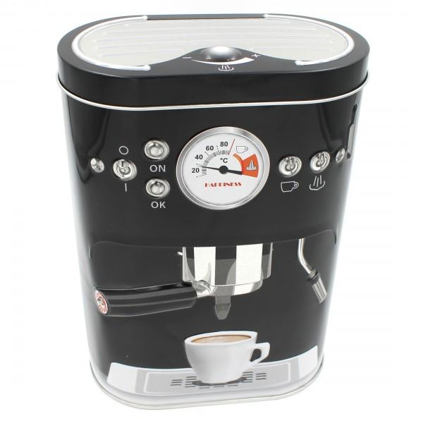 Kaffee-Dose aus Metall mit 3D-Prägung, Kaffeemaschine, Aufbewahrung schwarz silber 13,5x7,5x19cm
