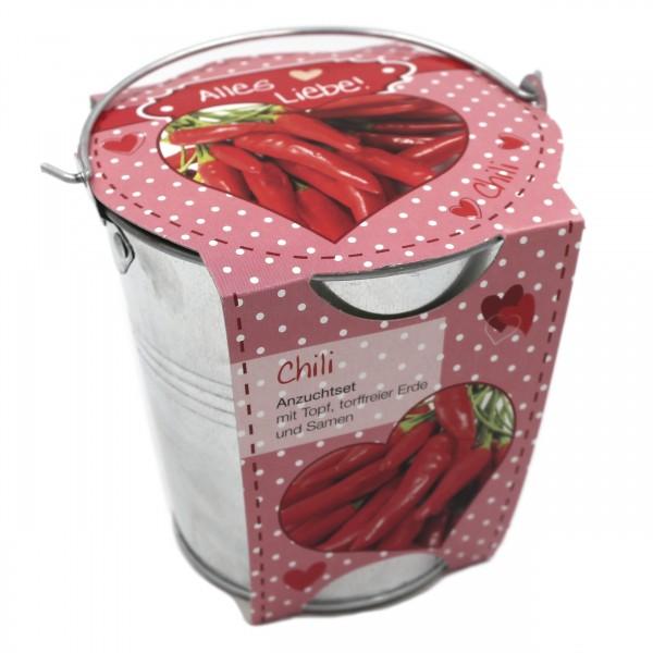 Pflanz-Topf als Geschenk, Chili, Alles Liebe, 11x11cm, Anzucht-Set mit Metall-Topf Erde Samen für Balkon Garten Wohnung