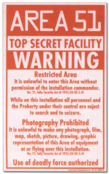 PST-Schild - AREA 51 WARNING Top Secret - Schild Spaßschild Spaß Spassschild Spass Funschild Fun Fun-Schild Türschild Tü