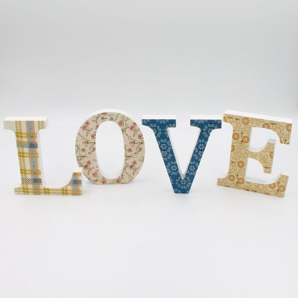 Deko Schriftzug ~ LOVE ~ einzelne Buchstaben aus Holz mit Druck ~ ca 11cm hoch ~ Patchwork