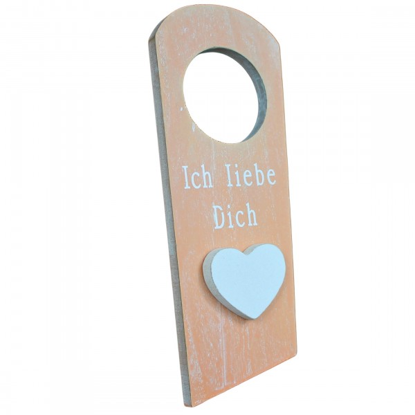 Türhänger mit Herz, ICH LIEBE DICH, aus Holz im shabby Look, orange, Türschild Schild für Tür