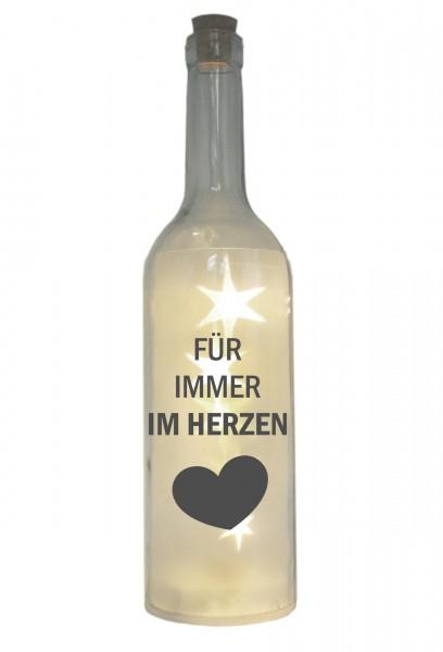 LED-Flasche mit Motiv, Für immer im Herzen, grau, 29cm, Flaschen-Licht Lampe mit Text Spruch Trauer
