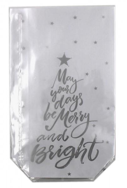 10 Stück Folien-Geschenkbeutel, May your days..., Weihnachten transparent 14,5x23,5cm, für Kekse, Pralinen